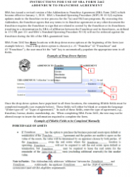 SBA Form 2462 Addendum to Franchise Agreement