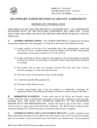 SBA Form 1086 Secondary Participation Guaranty Agreement
